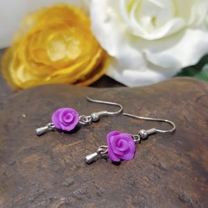 Hand Sculpted Polymer Rose Earrings
